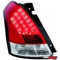 LAMPY TYLNE LED SUZUKI SWIFT 05-09  CZERWONE/PRZEŹROCZYSTE