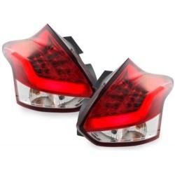 LAMPY TYLNE LED FORD FOCUS 2011+ LIGHTBAR CZERWONE / PRZEŹROCZYSTE