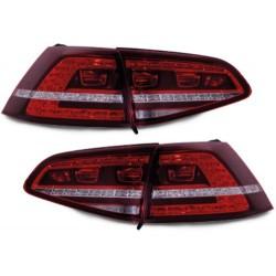 LAMPY TYLNE LED VW GOLF VII +13 GTI LOOK CZERWONE / PRZEŹROCZYSTE