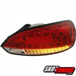 LAMPY TYLNE LED VW SCIROCCO 08-14 CZERWONE / PRZEŹROCZYSTE + KIERUNKOWSKAZ LED