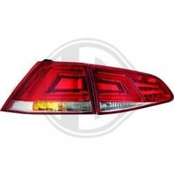 LAMPY TYLNE LED Volkswagen Golf VII 12+ CZERWONE / PRZEŹROCZYSTE