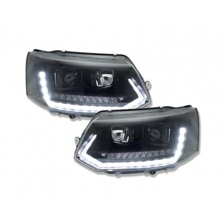 DRL REFLEKTORY VW T5 GP 10+ CZARNE POŁYSK Z DYNAMICZNYM KIERUNKOWSKAZEM LED