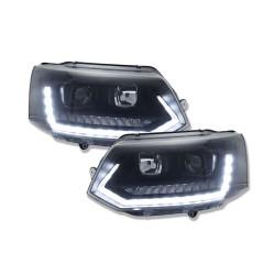 DRL REFLEKTORY VW T5 GP 10+ CZARNE Z DYNAMICZNYM KIERUNKOWSKAZEM LED