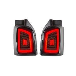 carDNA LAMPY TYLNE LED VW TRANSPORTER T5 03-14 CZARNE / CZERWONE / DYMIONE Z DYNAMICZNYM KIERUNKOWSKAZEM LED