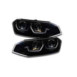 LAMPY PRZEDNIE REFLEKTORY VW POLO 6 2G 2017+ CZARNE Z DYNAMICZNYM KIERUNKOWSKAZEM LED