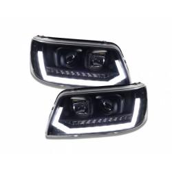 REFLEKTORY Z ŚWIATŁAMI DZIENNYMI VW T5 03-09 DYNAMICZNY KIERUNKOWSKAZ LED CZARNE