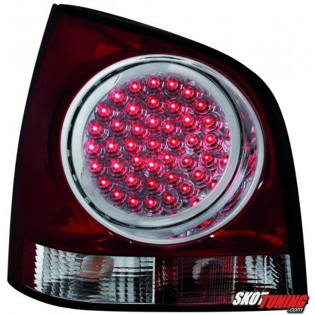 LAMPY TYLNE LED VW POLO 9N 3+5D 11.01-05.09 CZERWONE/PRZEŹROCZYSTE
