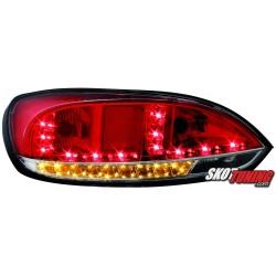 LAMPY TYLNE LED VW SCIROCCO III 08 CZERWONE/PRZEŹROCZYSTE + KIERUNKOWSKAZ LED