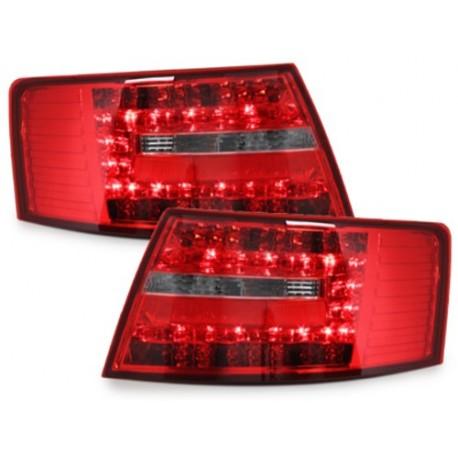 LAMPY TYLNE LED AUDI A6 4F SEDAN 04-08 CZERWONE / PRZEŹROCZYSTE