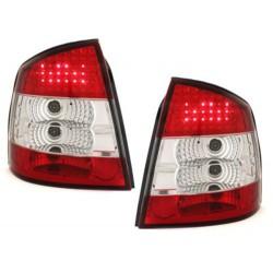 LAMPY TYLNE LED OPEL ASTRA G 3/5 DRZWIOWE 98-04  CZERWONE/PRZEŹROCZYSTE