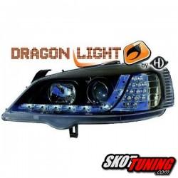 REFLEKTORY OPEL ASTRA G 98-04 LED CZARNE