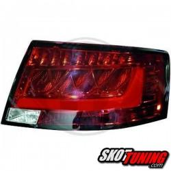LAMPY TYLNE LED AUDI A6 4F SEDAN 04-08 CZERWONE / PRZEŹROCZYSTE A7 - LOOK