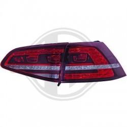 LAMPY TYLNE LED VW GOLF VII +12 GTI LOOK CZERWONE / PRZEŹROCZYSTE