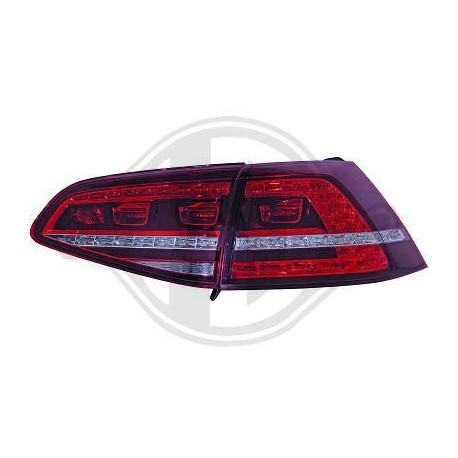 LAMPY TYLNE LED VW GOLF VII +1 GTI LOOK CZERWONE / PRZEŹROCZYSTE