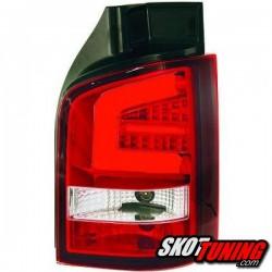 LAMPY TYLNE LED VW TRANSPORTER T5 03-09 CZERWONE / PRZEŹROCZYSTE Z KIERUNKOWSKAZEM LED
