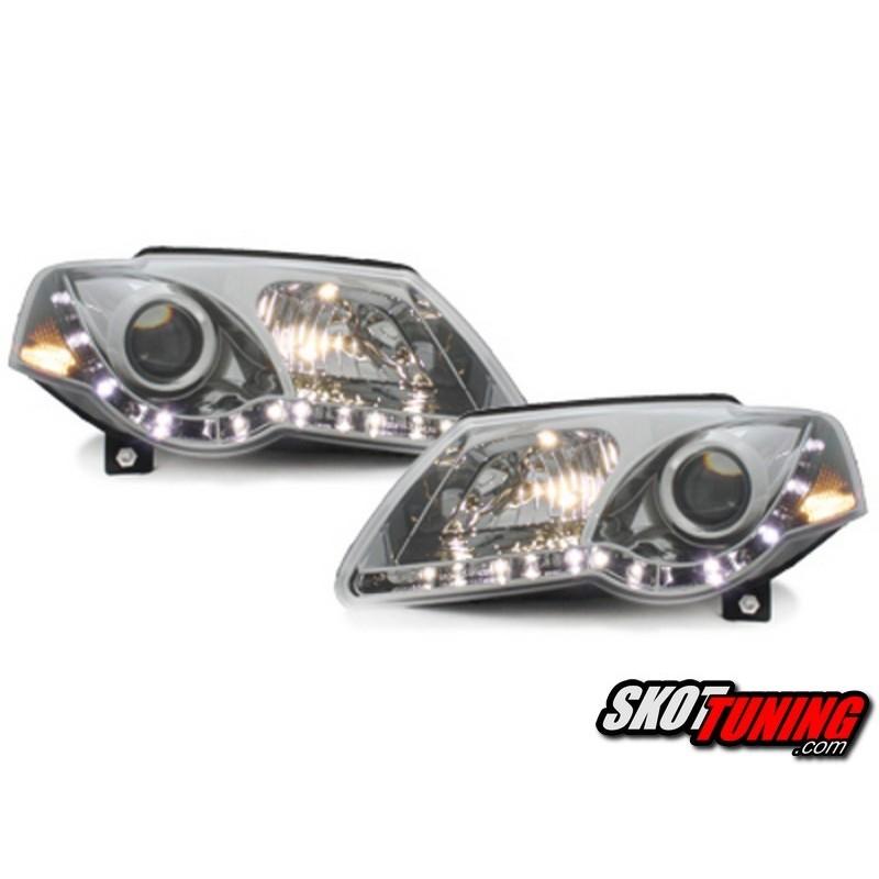 Lampy Przednie Reflektory Vw Passat B6 05 10 Chrom Z światłami Do Jazdy Dziennej