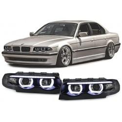 REFLEKTORY Z RINGAMI LED BMW E38 7 94-01 CZARNE